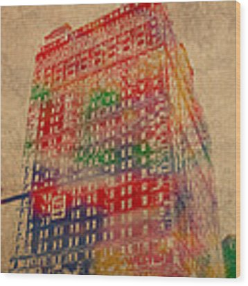 Book Cadillac Iconic Buildings Of Detroit Watercolor On Worn Canvas Series Number 3 Wood Print by Design Turnpike