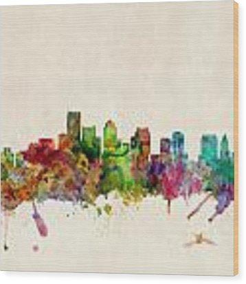 Boston Skyline Wood Print by Michael Tompsett