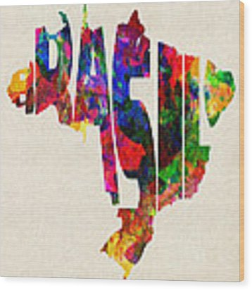 Brazil Typographic Watercolor Map Wood Print