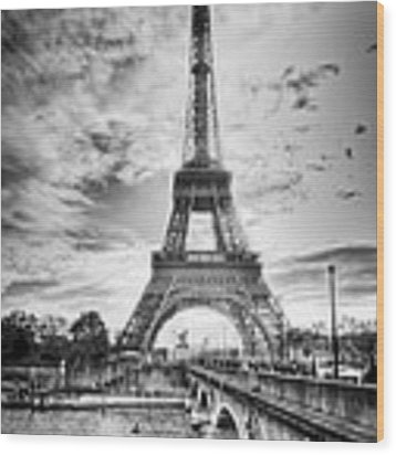 Bridge To The Eiffel Tower Wood Print by John Wadleigh