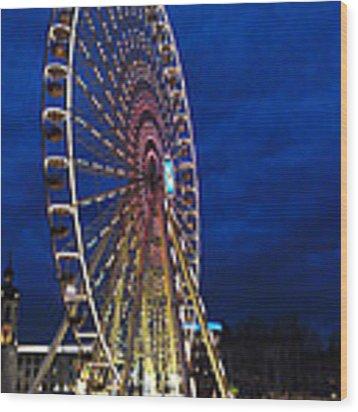 Bright Night Ferris Wheel Wood Print by Stwayne Keubrick