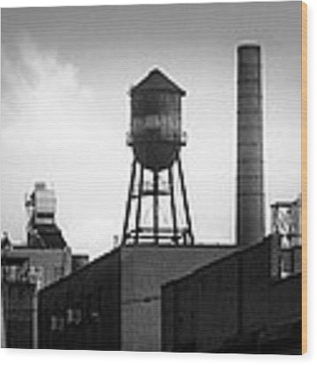Brooklyn Water Tower And Smokestack - Black And White Industrial Chic Wood Print by Gary Heller