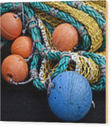 Buoys And Nets Wood Print by Carol Leigh
