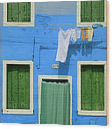 Burano Blue And Green Wood Print