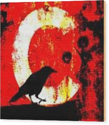 C Is For Crow Wood Print by Carol Leigh