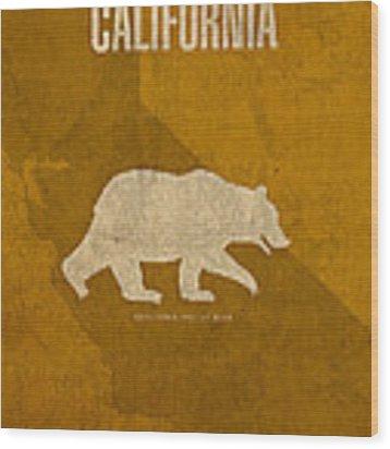 California State Facts Minimalist Movie Poster Art  Wood Print