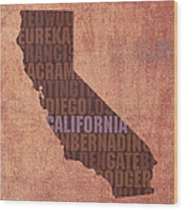 California Word Art State Map On Canvas Wood Print