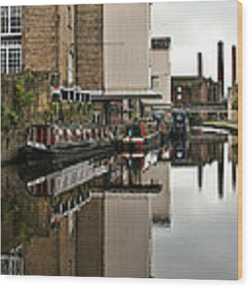 Canal And Chimneys Wood Print by Jeremy Hayden