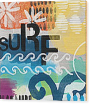 Carousel #7 Surf - Contemporary Abstract Art Wood Print by Linda Woods