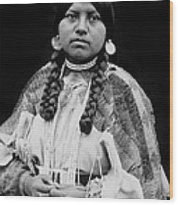 Cayuse Woman Circa 1910 Wood Print by Aged Pixel