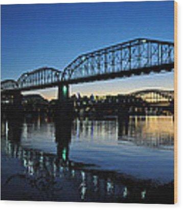 Tennessee River Bridges Chattanooga Wood Print by Matthew Chapman