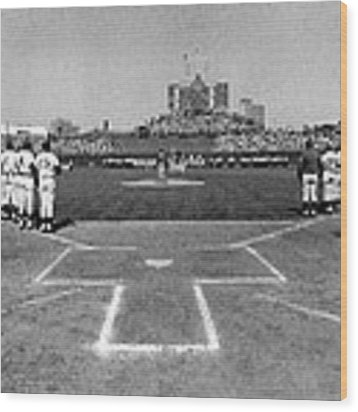 Chicago Cubs National Anthem  Wood Print by Retro Images Archive