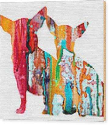 Chihuahua 4 Wood Print by Watercolor Girl