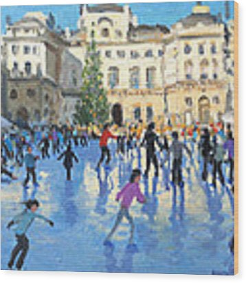 Christmas Somerset House Wood Print by Andrew Macara