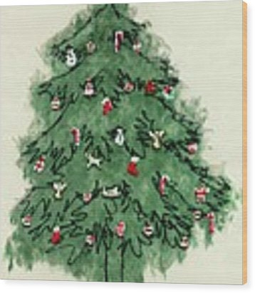 Christmas Tree Wood Print by Mary Helmreich