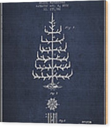 Christmas Tree Patent From 1882 - Navy Blue Wood Print by Aged Pixel