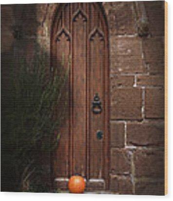 Church Door At Halloween Wood Print