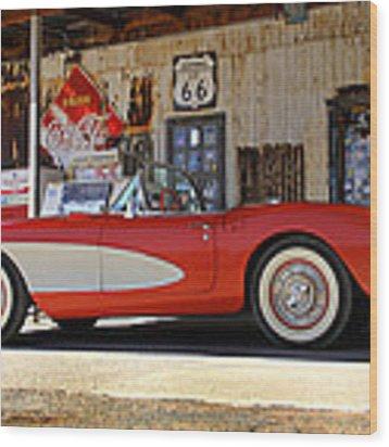 Classic Corvette On Route 66 Wood Print