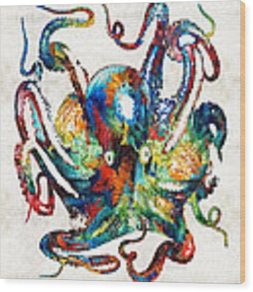 Colorful Octopus Art By Sharon Cummings Wood Print