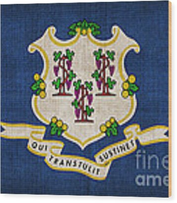 Connecticut State Flag Wood Print