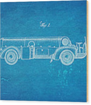 Couse Fire Truck Patent Art 1947 Blueprint Wood Print by Ian Monk