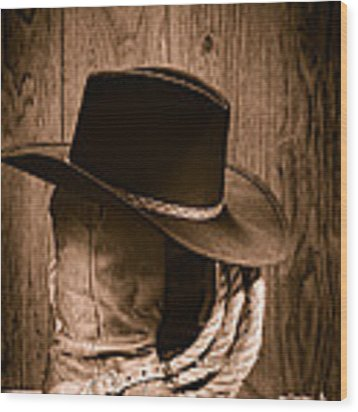 Cowboy Hat And Boots Wood Print
