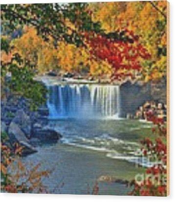 Cumberland Falls In Autumn 2 Wood Print by Mel Steinhauer