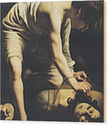 David Victorious Over Goliath Wood Print