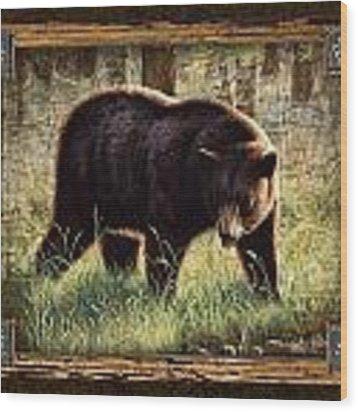 Deco Black Bear Wood Print by JQ Licensing