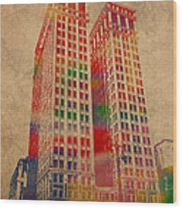 Dime Building Iconic Buildings Of Detroit Watercolor On Worn Canvas Series Number 1 Wood Print by Design Turnpike