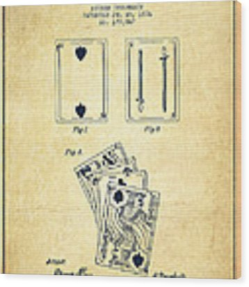 Dougherty Playing Cards Patent Drawing From 1876 - Vintage Wood Print by Aged Pixel