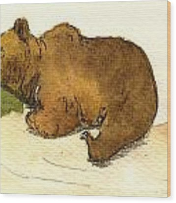 Dreaming Grizzly Bear Wood Print