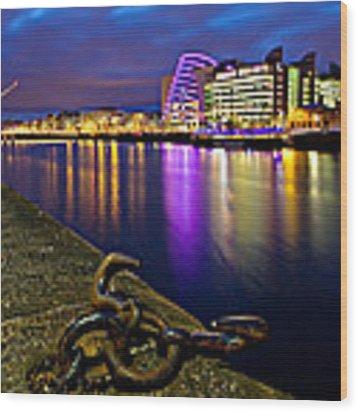 Dublin Docklands At Night / Dublin Wood Print by Barry O Carroll