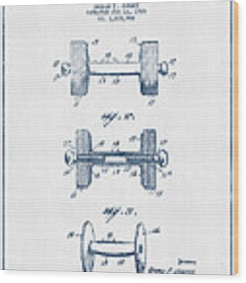Dumbbell Patent Drawing From 1935  -  Blue Ink Wood Print by Aged Pixel