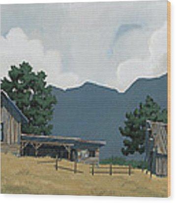 Early Bigfork Farmstead Wood Print by John Wyckoff