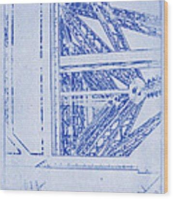 Eiffel Towers Steel Frame Blueprint Wood Print