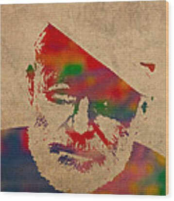 Ernest Hemingway Watercolor Portrait On Worn Distressed Canvas Wood Print