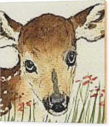 Fawn In The Flowers Wood Print