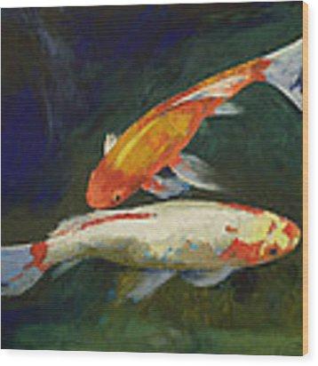 Feng Shui Koi Fish Wood Print by Michael Creese