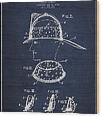 Firefighter Headgear Patent Drawing From 1926 Wood Print by Aged Pixel