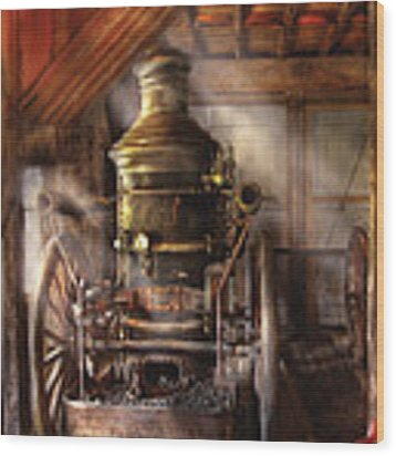Fireman - Steam Powered Water Pump Wood Print by Mike Savad