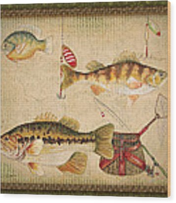 Fish Trio-a-greenborder Wood Print