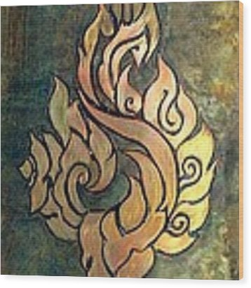 Flaming Dragon Rose Panel Wood Print by Shahna Lax