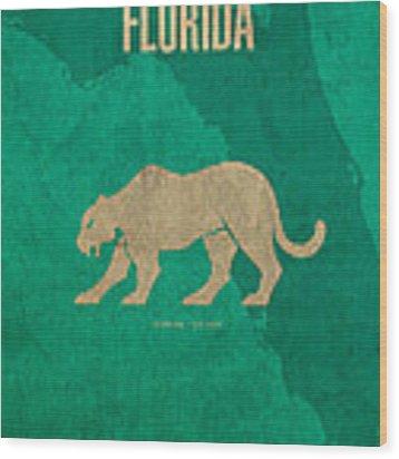 Florida State Facts Minimalist Movie Poster Art  Wood Print