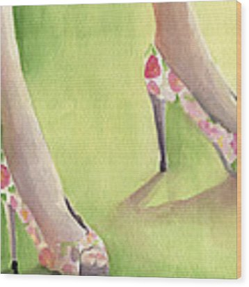 Flowered Shoes Fashion Illustration Art Print Wood Print by Beverly Brown