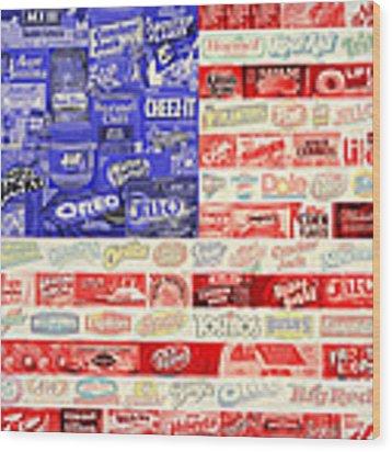 Food Advertising Flag Wood Print by Gary Grayson