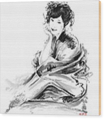 Geisha Geiko Maiko Young Girl Kimono Japanese Japan Woman Sumi-e Original Painting Art Print Wood Print
