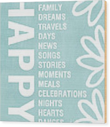 Happy Things Blue Wood Print