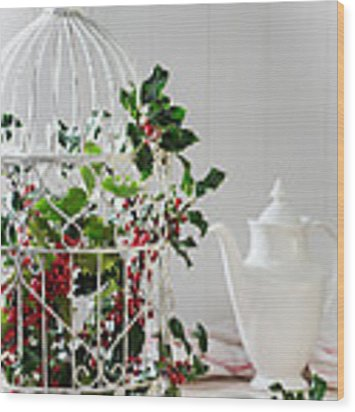 Holly And Berries Birdcage Wood Print by Amanda Elwell
