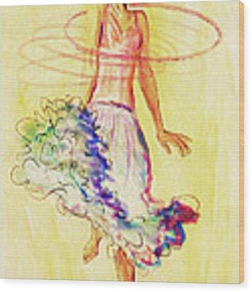 Hoop Dance Wood Print by Angelique Bowman